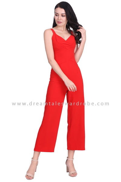 DT1576 Strappy V Neck Waist Panel Jumpsuit -  Red