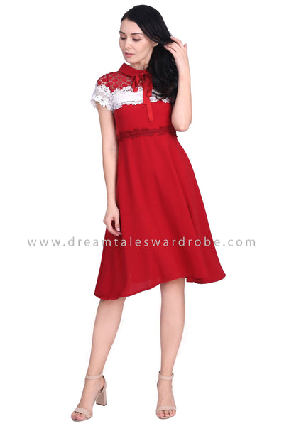 DT1578 Bow Tie Collar Midi Dress -  Red