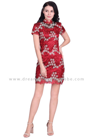 DT1582 Floral Embroidered Mesh Lace Cheongsam Shift Dress - Maroon