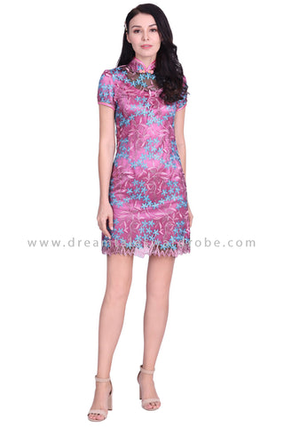 DT1582 Floral Embroidered Mesh Lace Cheongsam Shift Dress -  Pink