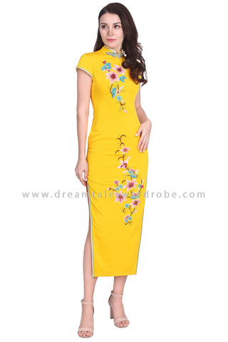 DT1583 Floral Embroidered Long Evening Cheongsam -  Yellow