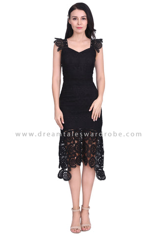 DT1584 Crochet Lace Mermaid Hem Evening Dress - Black