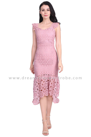 DT1584 Crochet Lace Mermaid Hem Evening Dress -  Dusty Pink
