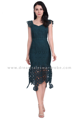 DT1584 Crochet Lace Mermaid Hem Evening Dress - Green