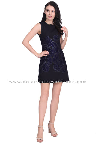 DT1585 Statement Floral Embossed Dress - Blue
