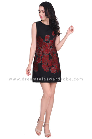 DT1585 Statement Floral Embossed Dress - Red