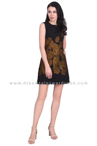 DT1585 Statement Floral Embossed Dress -  Yellow