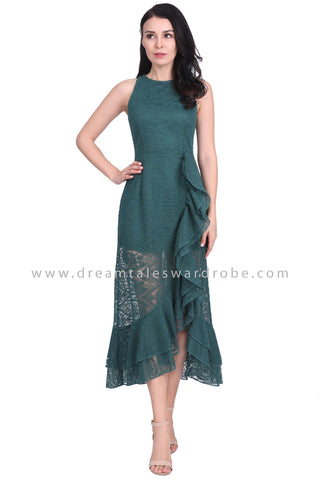 DT1586 Tiered Ruffle Lace Evening Dress - Green
