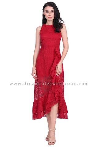 DT1586 Tiered Ruffle Lace Evening Dress - Red