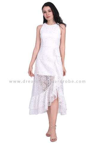 DT1586 Tiered Ruffle Lace Evening Dress -  White