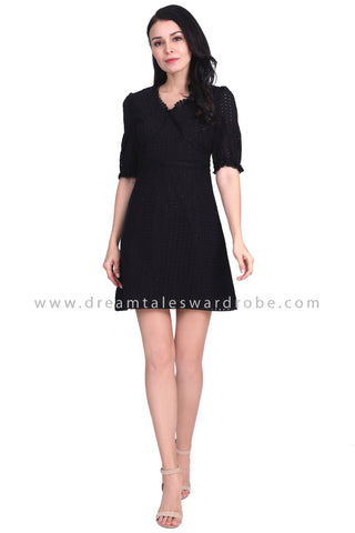 DT1587 Minimalist Eyelet Lace Detail Dress - Black