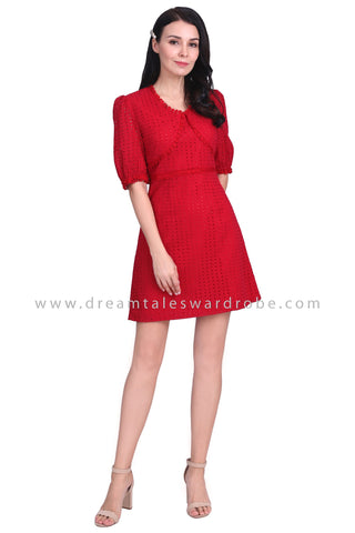 DT1587 Minimalist Eyelet Lace Detail Dress -  Maroon