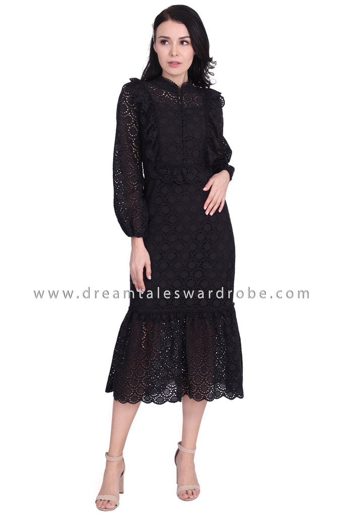 DT1589 Eyelet Lace Long Evening Dress - Black