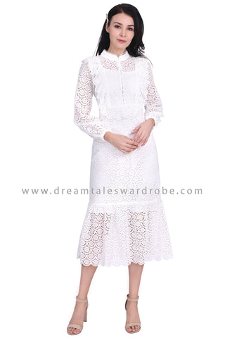 DT1589 Eyelet Lace Long Evening Dress -  White