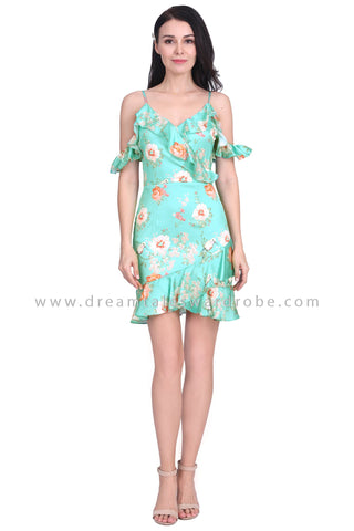 DT1590 Cold Shoulder Ruffle Tulip Hem Dress - Mint Green