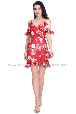 DT1590 Cold Shoulder Ruffle Tulip Hem Dress - Red