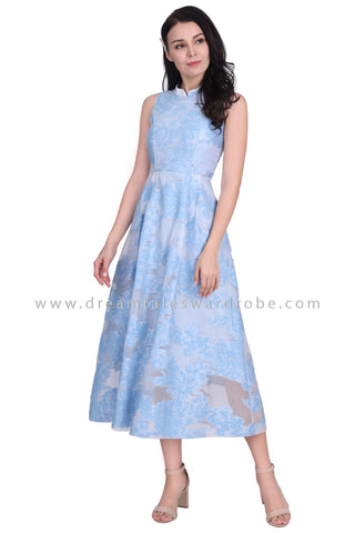 DT1591 Mandarin Collar Long Evening Cheongsam Dress - Blue