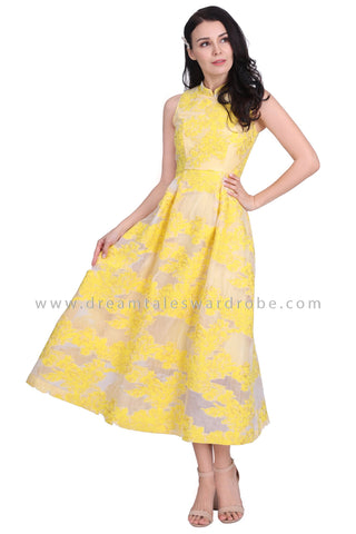 DT1591 Mandarin Collar Long Evening Cheongsam Dress -  Yellow