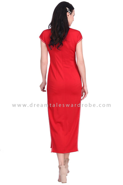 DT1592 Floral Long Cheongsam Dress -  Red