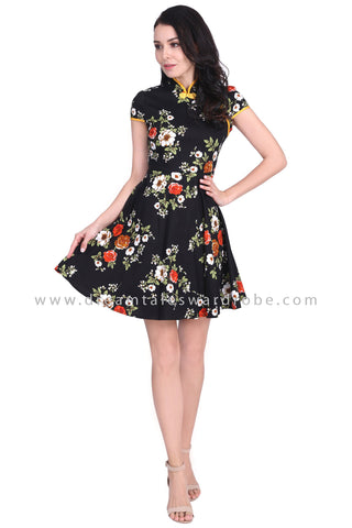 DT1593 Floral Modern Cheongsam Dress - Yellow Floral