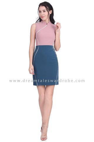 DT1601 Colour Block Mandarin Collar Cheongsam Dress -  Pink