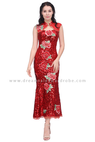 DT1602 Floral Sequins Cheongsam Evening Dress -  Red