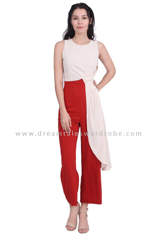 DT1604 Sleeveless High Waist Draped Jumpsuit -  Cream