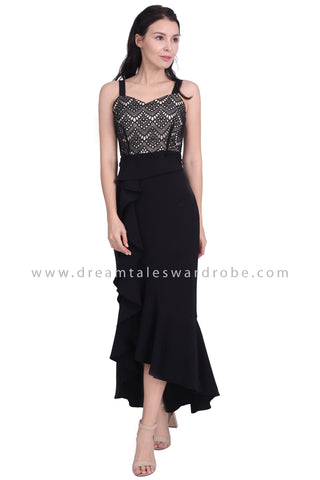 DT1606 Asymmetrical Ruffle Strappy Evening Dress - Black