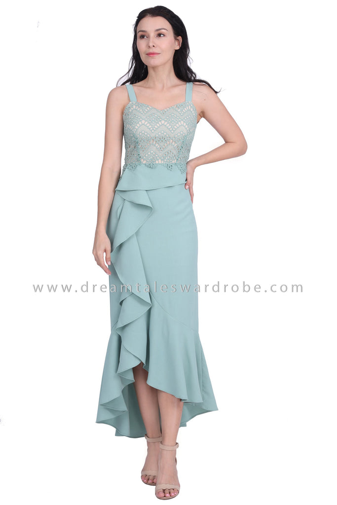 DT1606 Asymmetrical Ruffle Strappy Evening Dress - Green