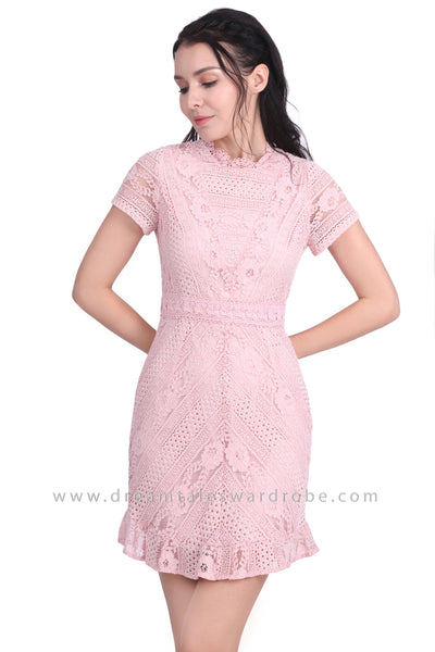 DT1610 Crochet Lace Scallop Neck Dress -  Pink