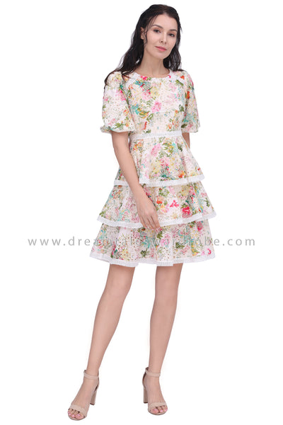DT1613 Charming Floral Tiered Ruffle Dress -  Floral