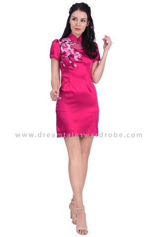 DT1614 Floral Detail Cheongsam Dress -  Magenta
