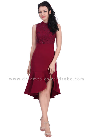 DT1617 Sequins Embroidered Lace Cheongsam Dress - Maroon