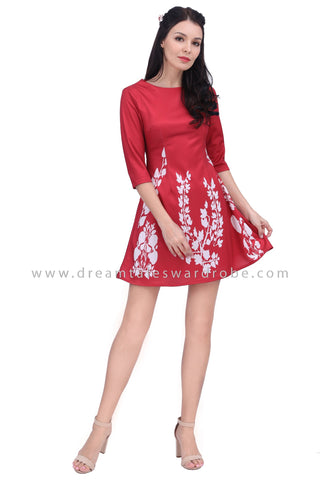 DT1621 Floral Half Sleeve Dress - Red