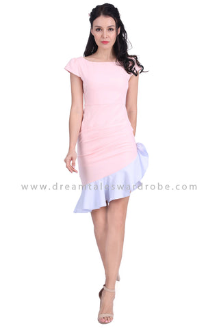 DT1622 Asymmetrical Ruffle Hem Dress -  Pink