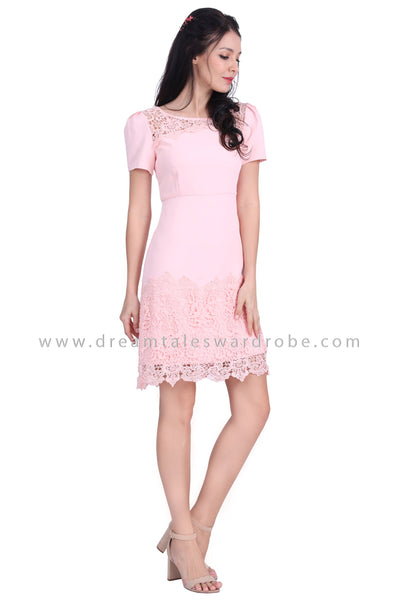 DT1623 Crochet Lace Hem Dress - Pink