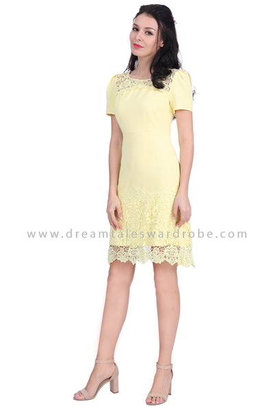 DT1623 Crochet Lace Hem Dress -  Yellow