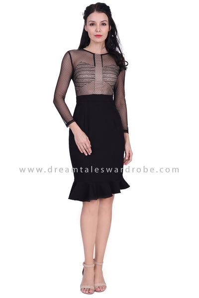 DT1625 Metallic Mesh Ruffle Hem Dress  - Black