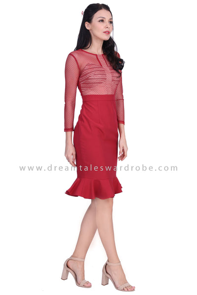 DT1625 Metallic Mesh Ruffle Hem Dress  -  Maroon