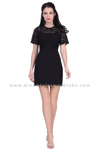 DT1626 Crochet Contrast Paperback Waist Dress - Black