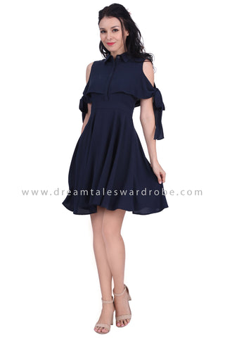 DT1628 Cold Shoulder Cape Style Collared Dress - Blue