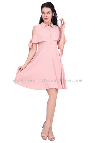 DT1628 Cold Shoulder Cape Style Collared Dress -  Pink