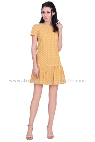 DT1630 Minimalist Ruffle Hem Eyelet Dress -  Yellow