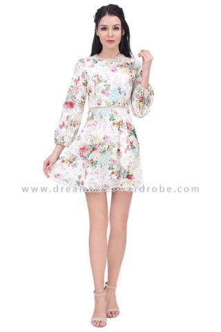DT1631 Puff Sleeve Lace Trim Floral Eyelet Dress -  Cream