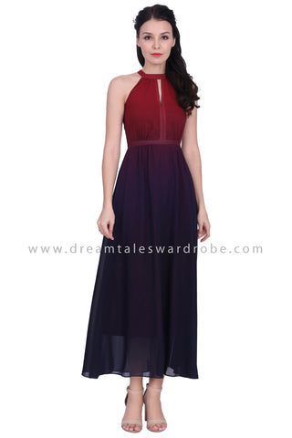 DT1632 Halter Neck Ombre Evening Gown - Maroon