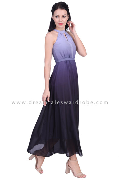 DT1632 Halter Neck Ombre Evening Gown -  Purple