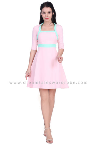 DT1633 Square Neck Colourblock Dress -  Pink