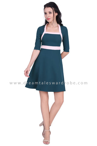 DT1633 Square Neck Colourblock Dress - Teal