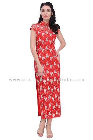 DT1634 Floral Embroidered Mesh Lace Long Cheongsam Dress- Red