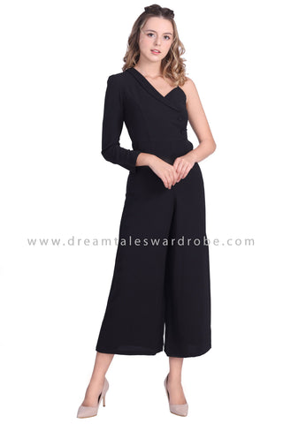 DT1644 Asymmetrical Shoulder Jumpsuit - Black